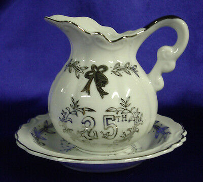 Lefton China 25th Anniversary Silver Mini-Pitcher & Bowl,  Hand Painted in Japan