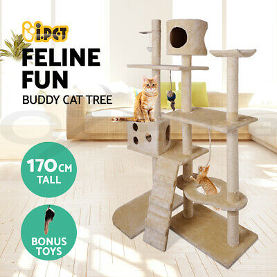 Cat Scratching Post Tree Scratcher Pole Furniture House Gym Toy Large 170cm GR