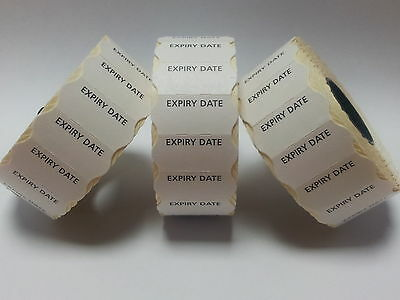 15,000 'Expiry Date' White Permanent 26mm x 12mm CT4 Price Gun Labels
