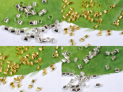 free ship 1000pcs Silver-gold /Plated Tube Crimp End Spacer Beads 1mm 2mm