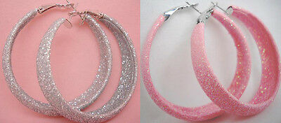 we026 wholesale lots 2 pairs dull polish pink&grey fashion hoop earrings jewelry