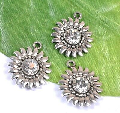 fre ship 10pcs Tibetan silver crafted Crystal sunflower pendants 24x20mm SH2052