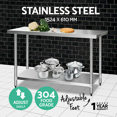 Cefito Stainless Steel Kitchen Benches Work Bench Food Prep Table 1524x610mm 304