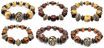wm014 wholesale lots 6pcs wood bead stretch bracelet fashion acrylic flower