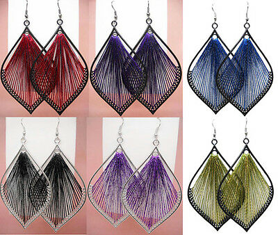 wt007 wholesale lots 6 pairs fashion leaf thread dangle earrings women hot sell