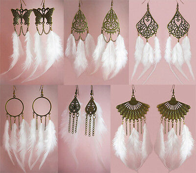wf070 wholesale lots 6 pairs fashion chandelier white feather dangle earrings