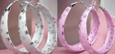 we020 wholesale 2 pairs black white star hoop earrings hot elegant cute jewelry