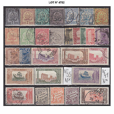 004752 LOT TUNISIE 29 TIMBRES anciens