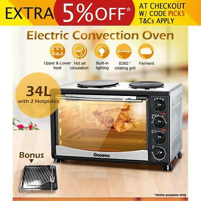 34L Electric Convection Oven Toaster Grill Benchtop w/ 2 Hot Plates & Rotisserie