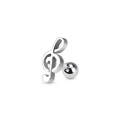 Treble Clef Music Note - Helix / Tragus Earring - Steel - 1.2mm x 6mm Length Bar