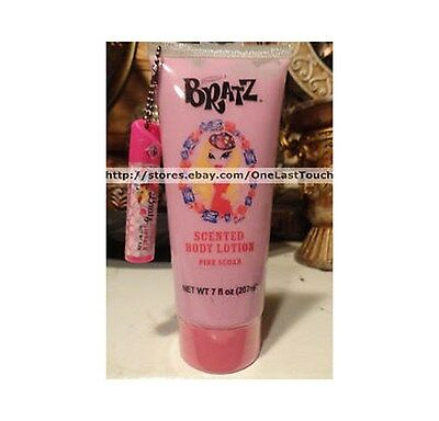 BRATZ 2pc Body Lotion+Lip Balm Keychain PINK SUGAR Scented/Flavored CUTE SET!
