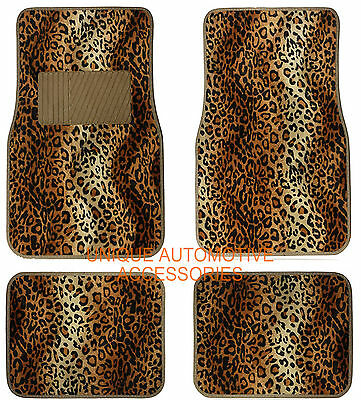 4Pcs Tan Black Leopard Premium Carpet Animal Print Auto Floor Mats Set Mt16Cs5