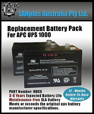 NEW Replacement Battery Pack RBC6 for APC UPS 1000 Tower SU1000I SMT1000I BP1000