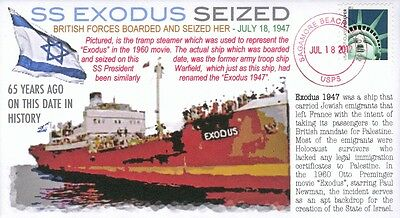 "COVERSCAPE computer designed ""Exodus 1947"" seized by British 65th event cover"