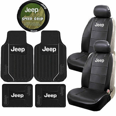 Jeep Elite Mopar Sideless Synthetic Leather Seat Covers Steering Wheel Universal