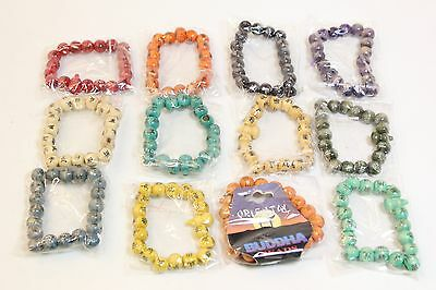 NEW Wholesale Job Lot 12 Pcs Fashion Jewellery Wooden Buddha Beads Bracelets