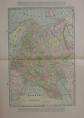 1898 Russia Large 2-page Color Atlas Map** Indexed with Populations