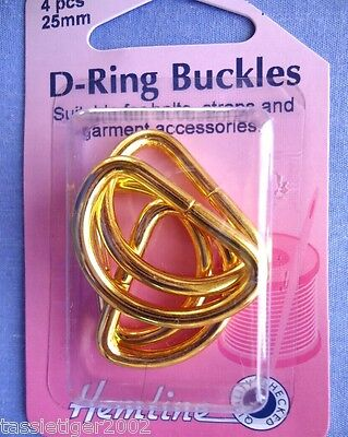 25mm Gold D Rings