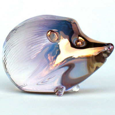 Hedgehog Figurine of Hand Blown Glass with 24K Gold