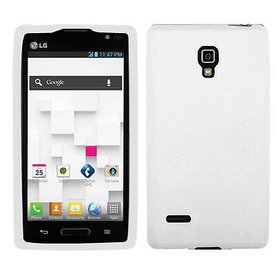 For T-Mobile LG Optimus L9 Rubber SILICONE Soft Gel Skin Case Phone Cover White