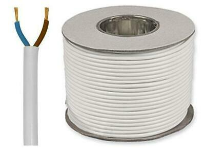 White Round Flexible Cable 2182Y 2 Core 0.50mm 3 Amp All Lengths 1m 5m 10m 25m