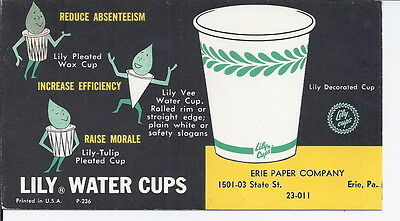 Erie, Pa- Erie Paper Company - Lily Water cups blotter