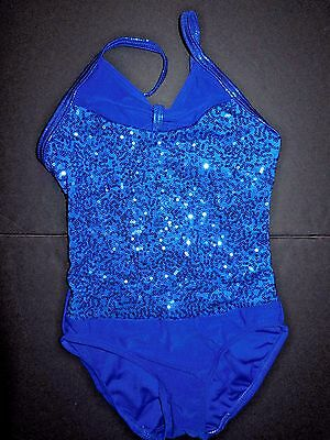 NWT SEQUIN LEOTARD BOW FRONT CAMISOLE DANCE BATON CHILD Szs ROYAL or WHITE