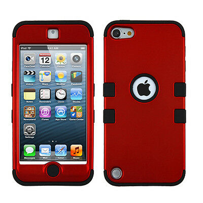 for iPod Touch 5th / 6th Gen Red Black Impact Armor Hard&Soft Rubber Hybrid Case