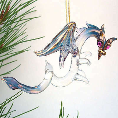 Dragon Christmas Tree Ornament of Hand Blown Glass