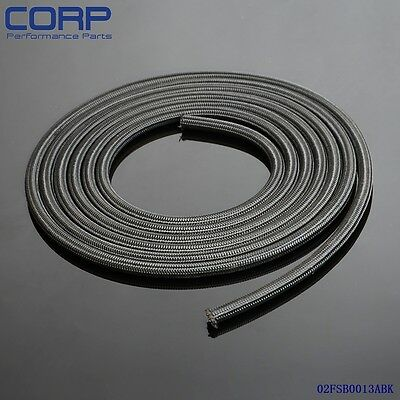 STAINLESS STEEL/NYLON BRAIDED 15KPSI AN6 6-AN BLACK OIL/FUEL LINE/HOSE FOOT/FEET