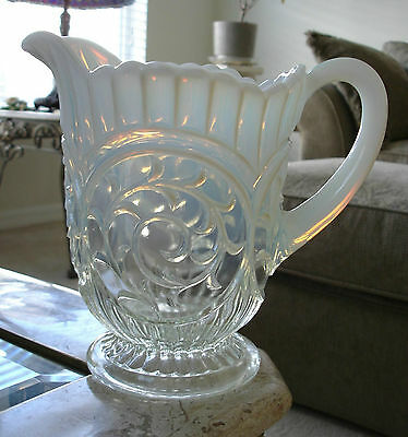 Dugan Circled Scroll White Opalescent Water Pitcher