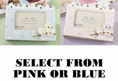 "Pink or Blue 4"" x 6"" Owl Picture Frame Baby Photo Frame Baby Shower Gifts"