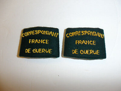 c0305 WW 2 Correspondant France DeGuerue slip on shoulder straps pair