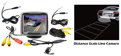 PLCM32 3.5'' TFT LCD Monitor w/Mount Backup Color CMD Distance Scale Line CamerA