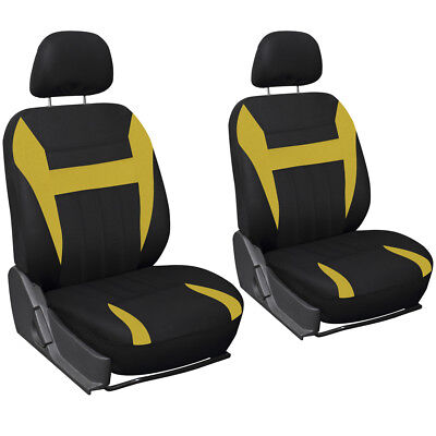 SUV Van Truck Seat Cover Yellow Black 6pc Bucket w/Detachable Head Rest Mesh