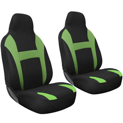 SUV Van Truck Seat Cover Green Black 2pc Bucket w/Integrated Head Rest Mesh