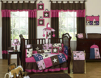 PINK AND BROWN DESIGNER HORSE WESTERN THEMED COWGIRL BABY GIRL CRIB BEDDING SET