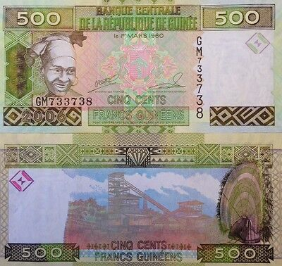 Guinea 2006 500 Francs Uncirculated Banknote P-39 Mining Buy From A Usa Seller !