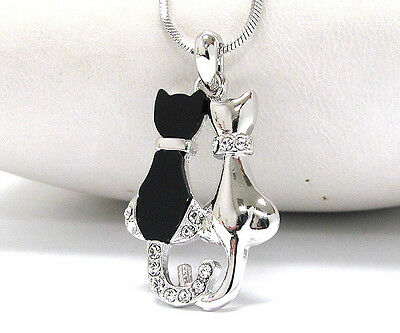 """""""TWIN CATS""""  PENDANT NECKLACE by LOTZA GLITZ!  -BLACK, WHITE GOLD & CRYSTALS!"""