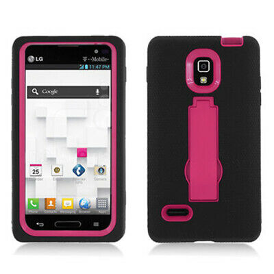For LG Optimus L9 Impact Hard Rubber Case Phone Cover Kick Stand Black Pink