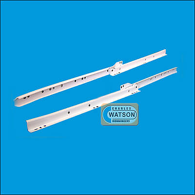 "White 14"" Roller Drawer Runners Kitchen Bedroom Replacement Slide Glide Metal"