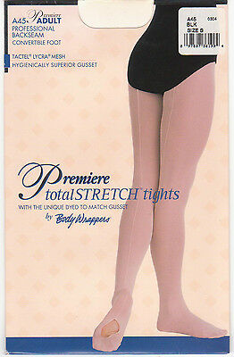 15f511df1cd1b NEW Body Wrappers Professional Backseam Convertible Foot Tights Black Adult