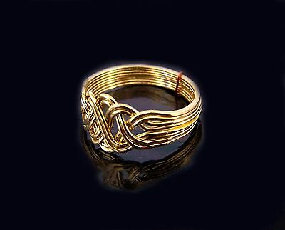 Gold Plated 8 Band Princess Style Open Weave Design Turkish Puzzle Ring