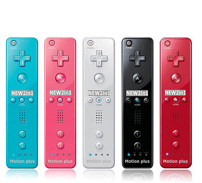 2in 1 Wiimote Built in Motion Plus Inside Remote Controller For Nintendo Wii Red