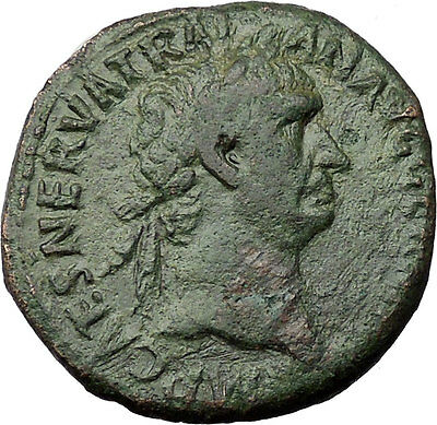 Trajan 98AD Large Rare  Authentic Ancient Roman Coin Victory w shield i31231