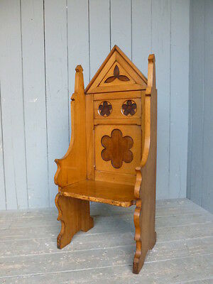 Solid Oak Antique Gothic Chair - Seats Dining Chapel Church Chair