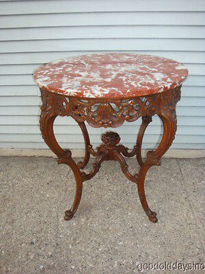 Antique American French Style Red Marble Top Lamp Table Ornate Carved Wood