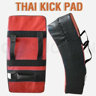 Thai Boxing Punch Focus Kick Pad Mitts Traing Hit Strike Shield Curved BK & Red