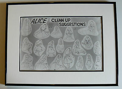 Walt  Disney Alice In Wonderland Framed Production Model Sheet Original 1951
