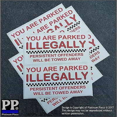 8 x You Are Parked Illegally-Wheel Clamping,Clamp-Car,Van,Parking Stickers Signs